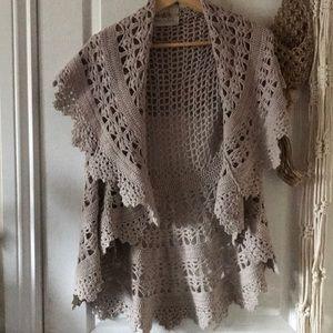 Anthropologie crochet sweater vest boho